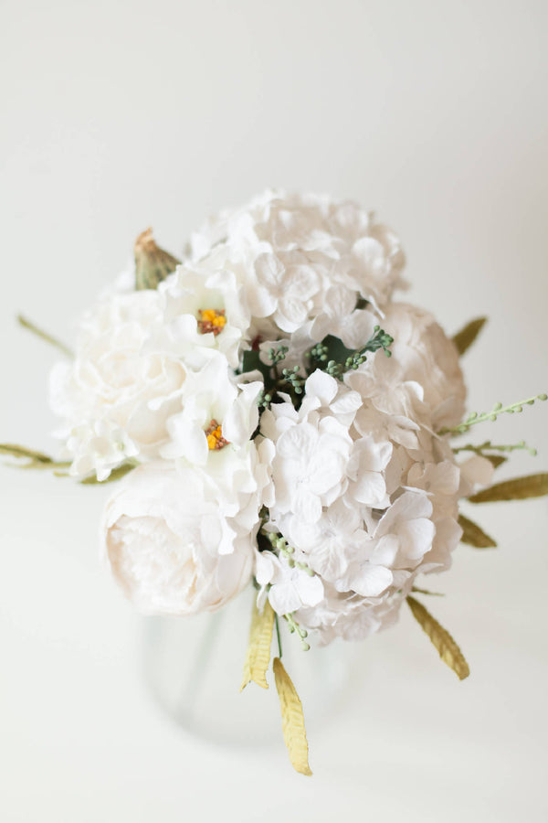 Paper Flower White Hydrangea Bouquet