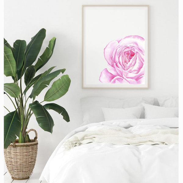 watercolour print of an english garden pink rose hanging above a bed and a big plant on a white wall