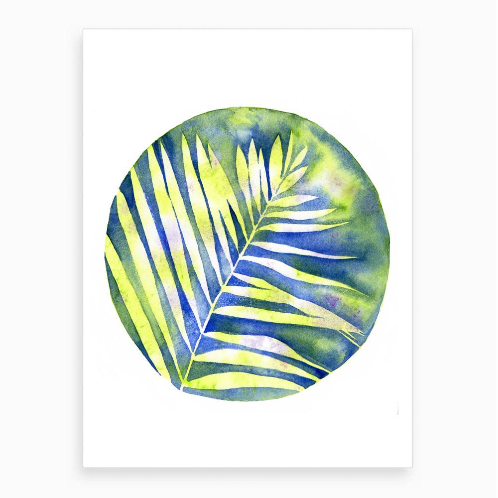 watercolour of a yellow fern plant with a blue colourful background