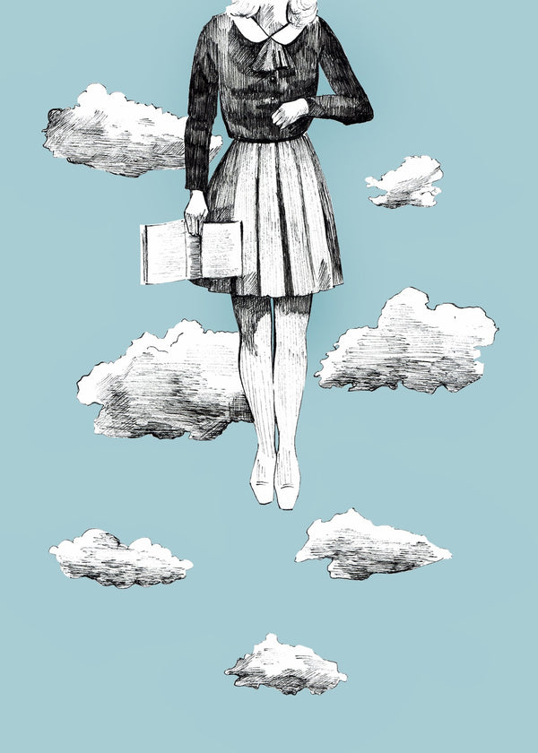 ink drawing of a woman floating in the sky surrounded by clouds