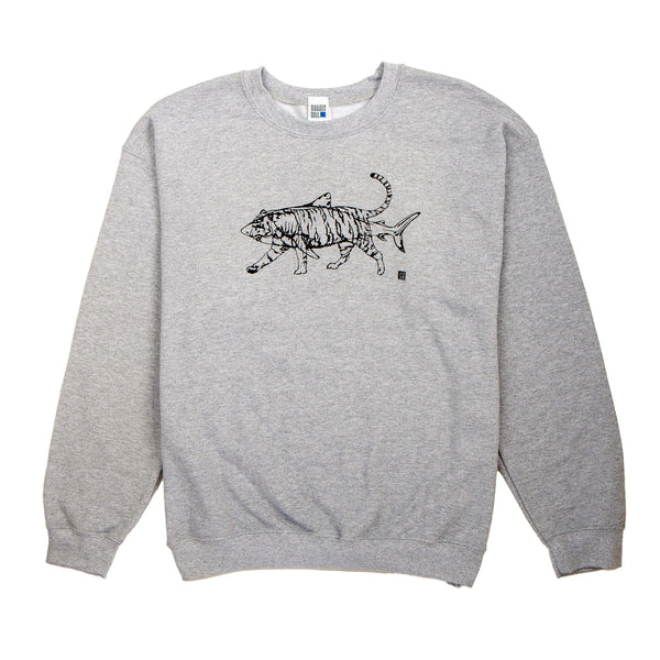 grey jumper with an outline of a black shark and tiger screenprinted onto it