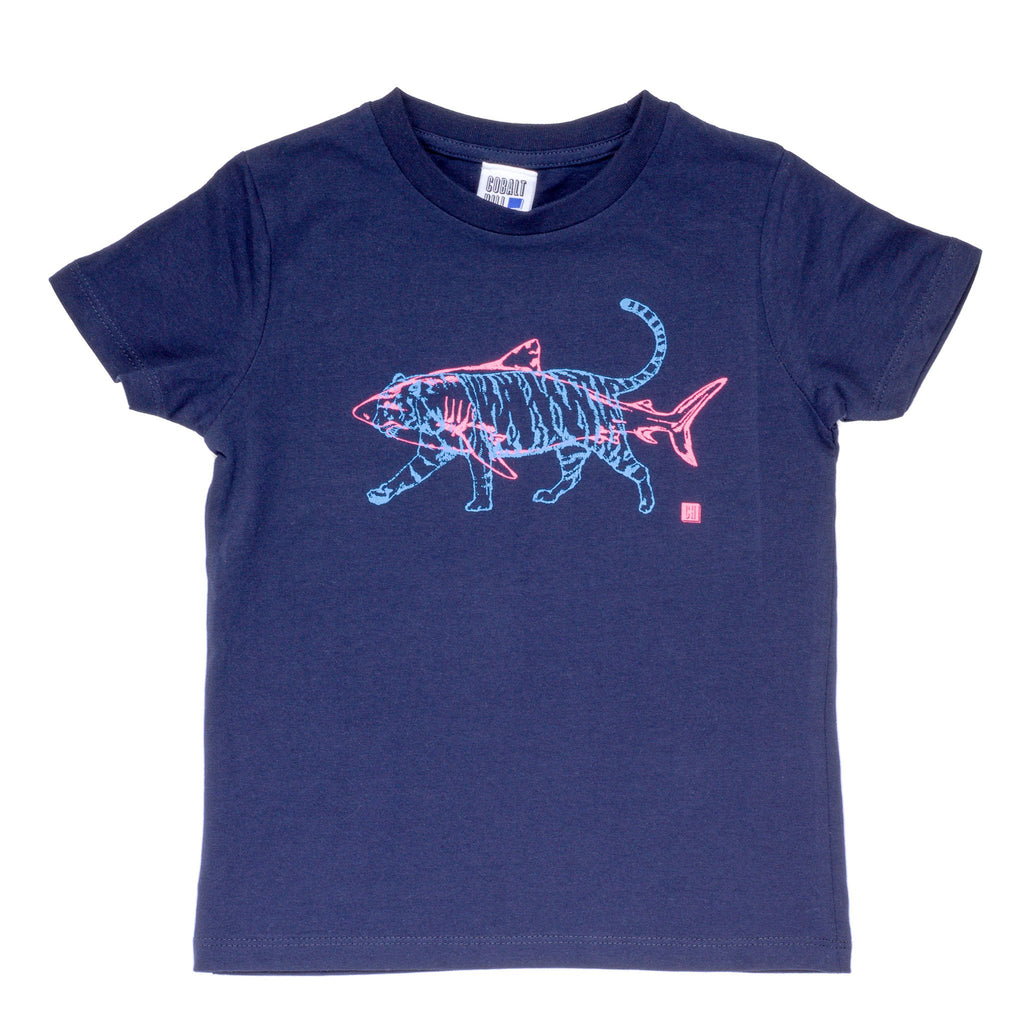 kids navy tshirt with a fluorescent pink shark and blue tiger superimposed on top of it