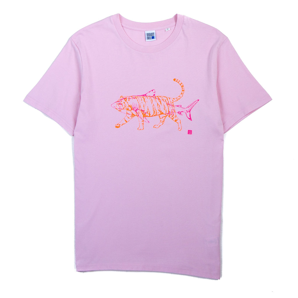 pink tshirt with a fluorescent pink shark and orange tiger superimposed on top of it