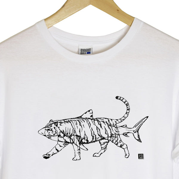 close up detail of a white tshirt with a black outline of a tiger and a shark printed on it
