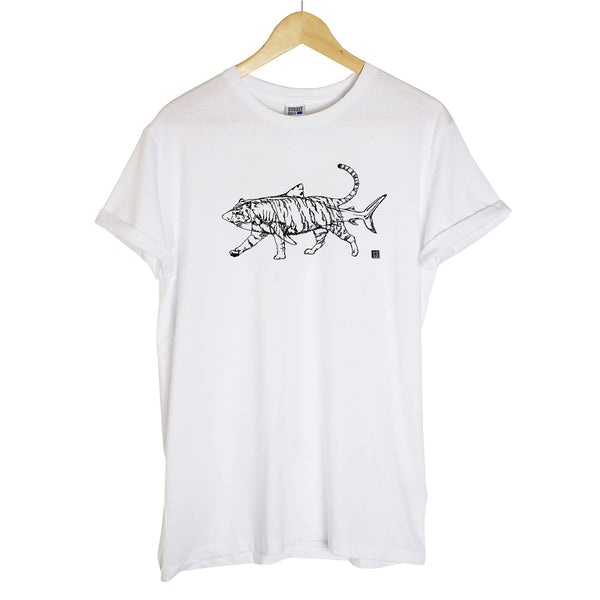 white tshirt with a black outline of a tiger and a shark printed on it