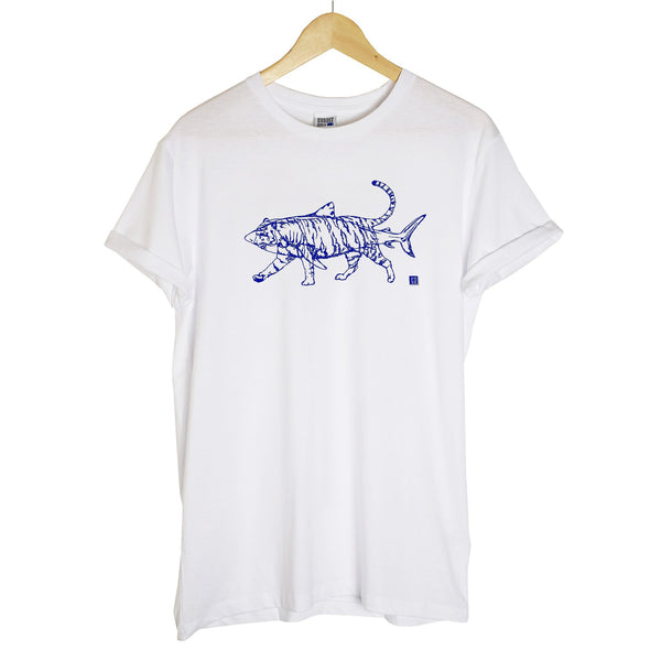 a white tshirt with a navy outline of a tiger and shark printed on top of each other hanging on a wooden hanger