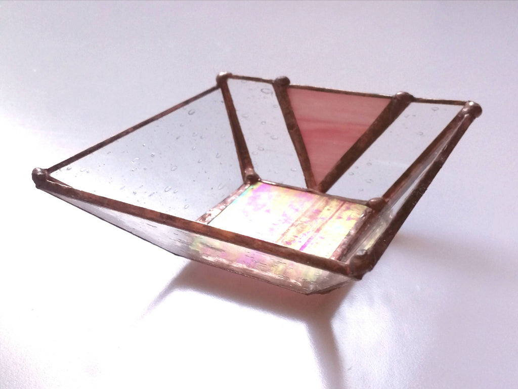 Mini Stained Glass Iridescent Pink Trinket Dish