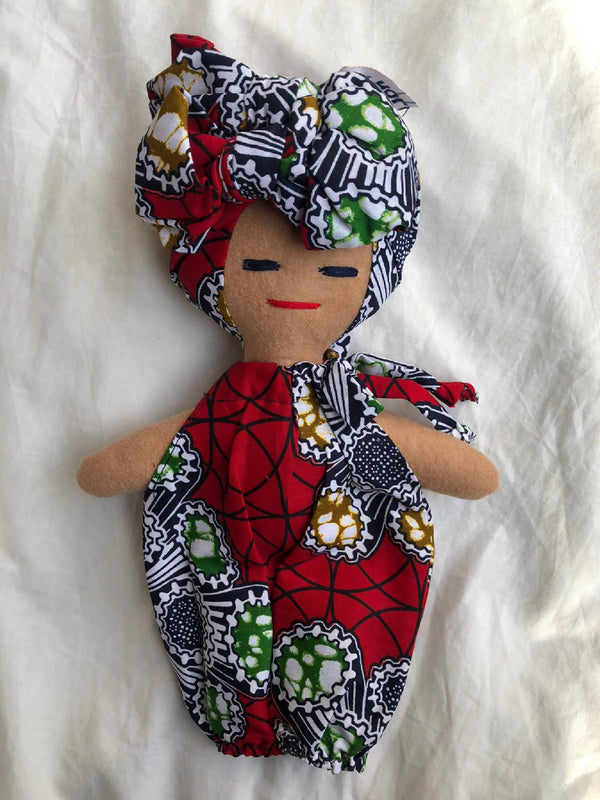 Handmade Doll with Ankara head wrap and outfit on white background