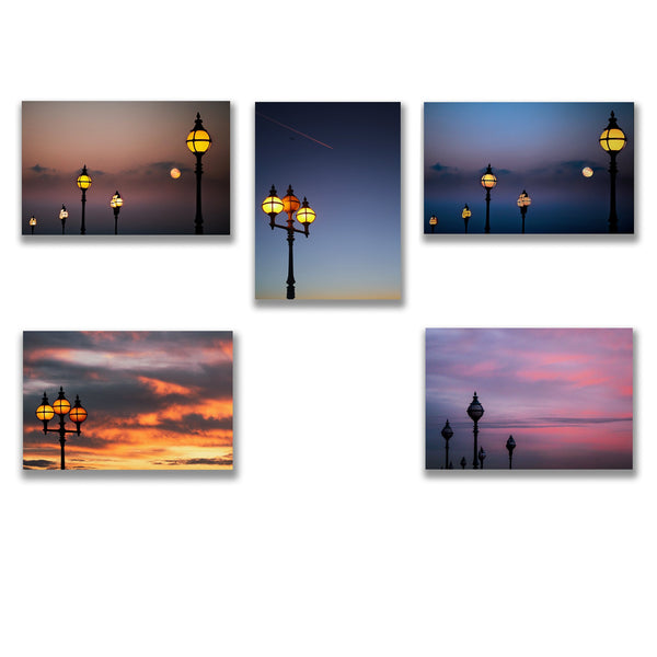 five greeting cards showing photos of the lamp posts around alexandra palace in north london
