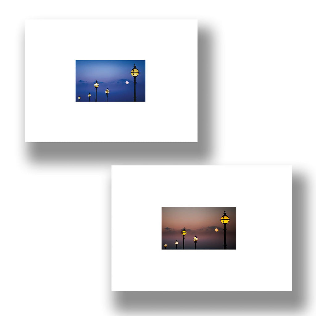 two greeting cards showing a moon at alexandra palace