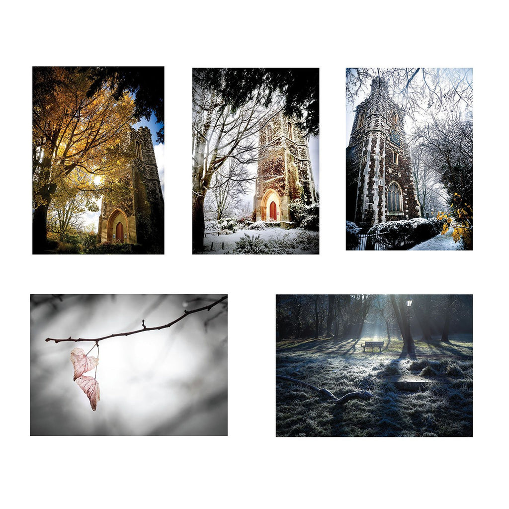 five greeting cards showing photos of st marys tower church in north london haringey
