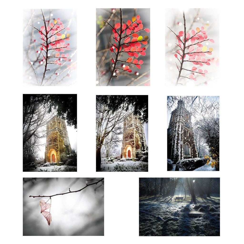eight greeting cards showing different winter scenes around hornsey in london such as snow in parks on trees and on churches