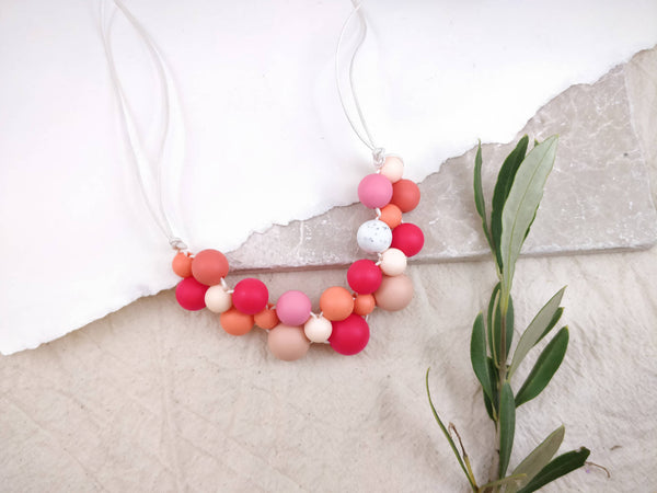 Baby Friendly Silicone Necklace - Coral Peach Pink | New Mum Gift | Geometric Necklace