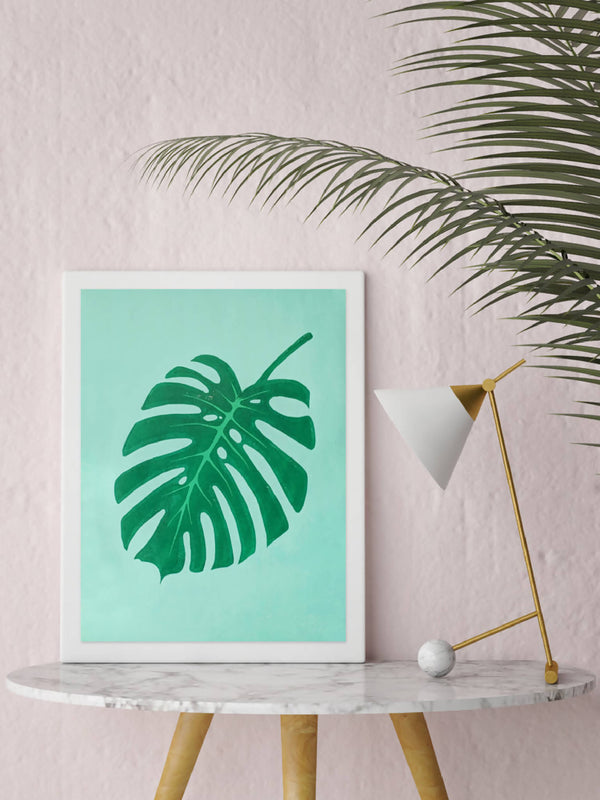 Monstera (Cheese Plant) Leaf Linocut Print