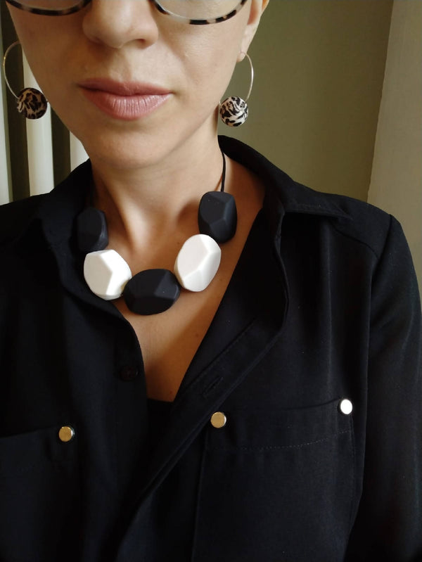 Black and White Chunky Silicone necklace