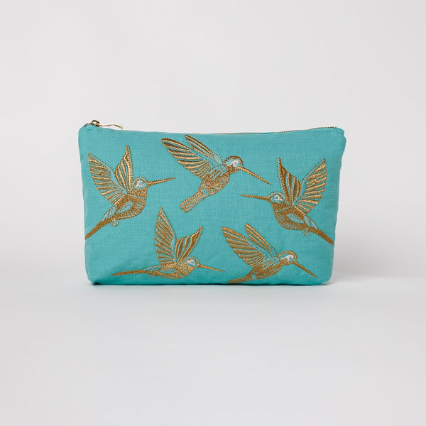 Hummingbird Travel Pouch - Turquoise