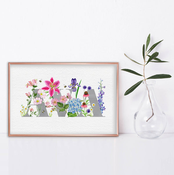 Personalised Floral Name Print