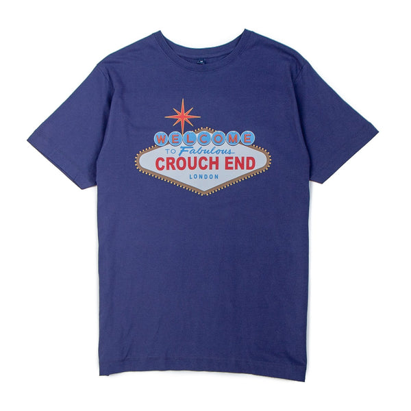 blue tshirt with the words fabulous crouch end printed on it