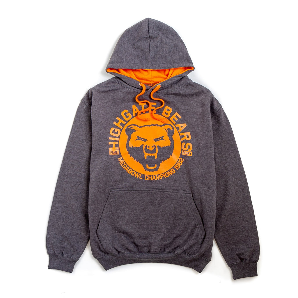 grey hoodie jumper with the words highgate bears printed on it