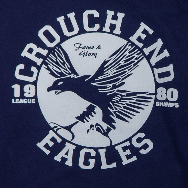 navy jumper with grey sleeves with the words crouch end eagles printed on it
