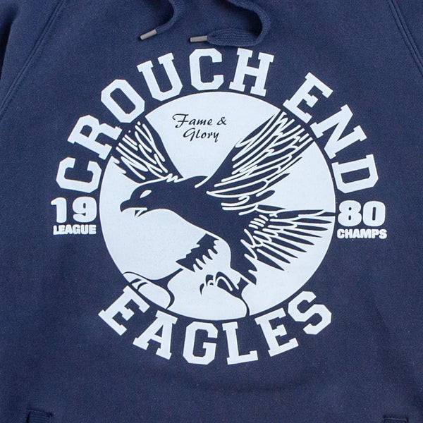 navy hoodie jumper with the words crouch end eagles printed on it