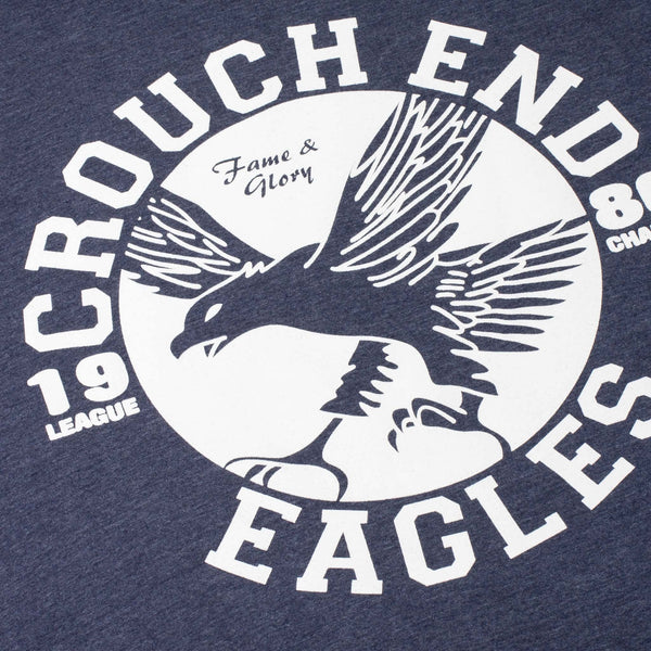 navy tshirt with the words crouch end eagles printed on it
