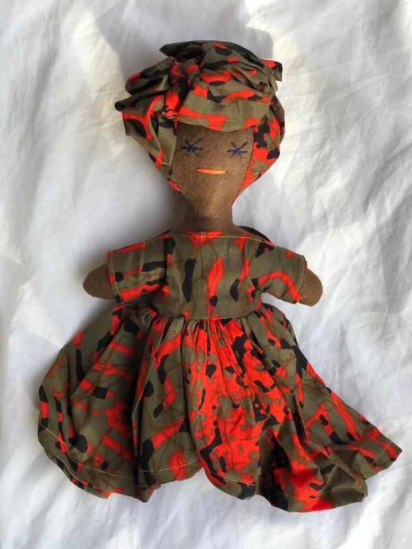 Handmade Doll with Orange and Brown Dress