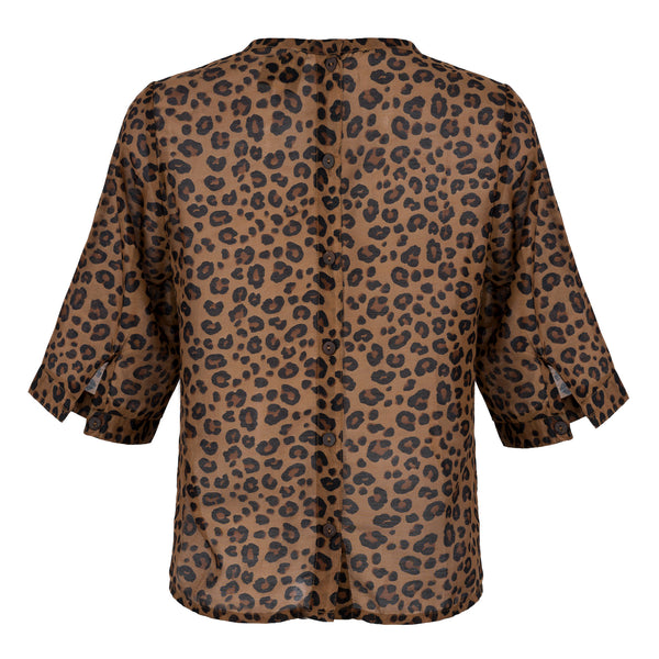 sustainable Leopard Print Cotton Button Back Top back