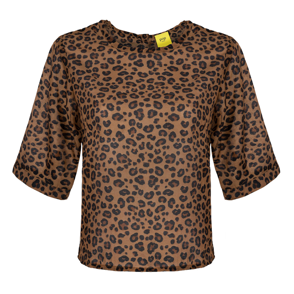 sustainable Leopard Print Cotton Button Back Top