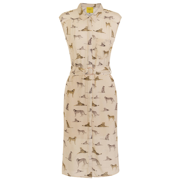 sustainable Leopard Print Sleeveless Shirt Dress