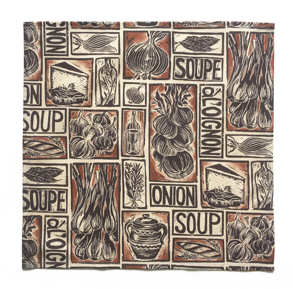 Set of 4 Recipe Print Napkins - French Onion Soup