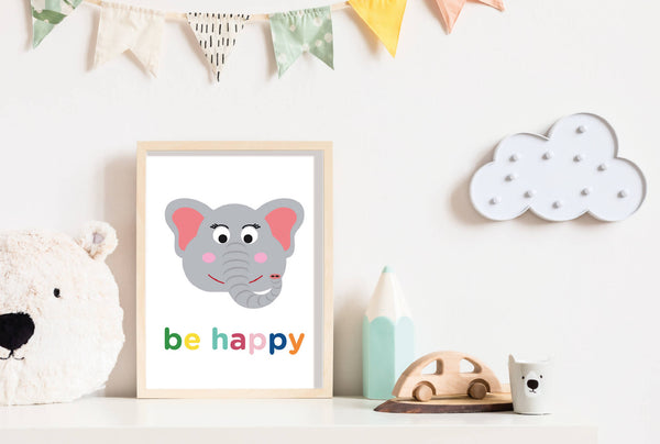 Be Happy Elephant Wall Print