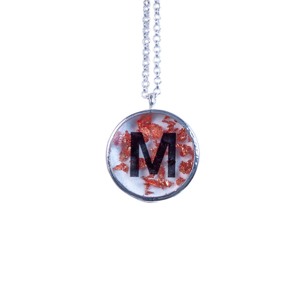hand made alphabet resin letter silver plated disk necklace filled with copper foil
