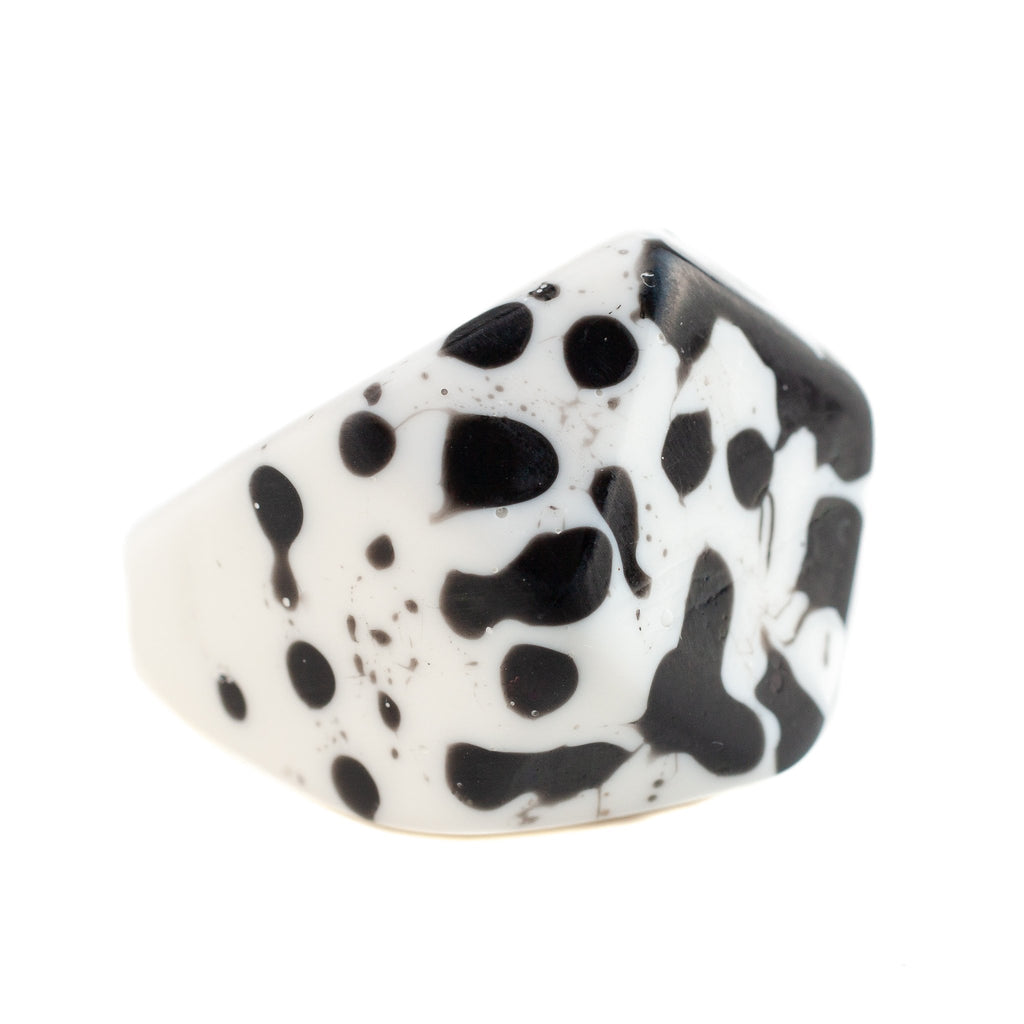 handmade chunky monochrome black and white splat design resin ring