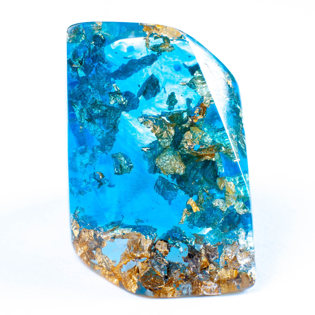 handmade chunky large ocean inspired aqua and gold foil large resin ring