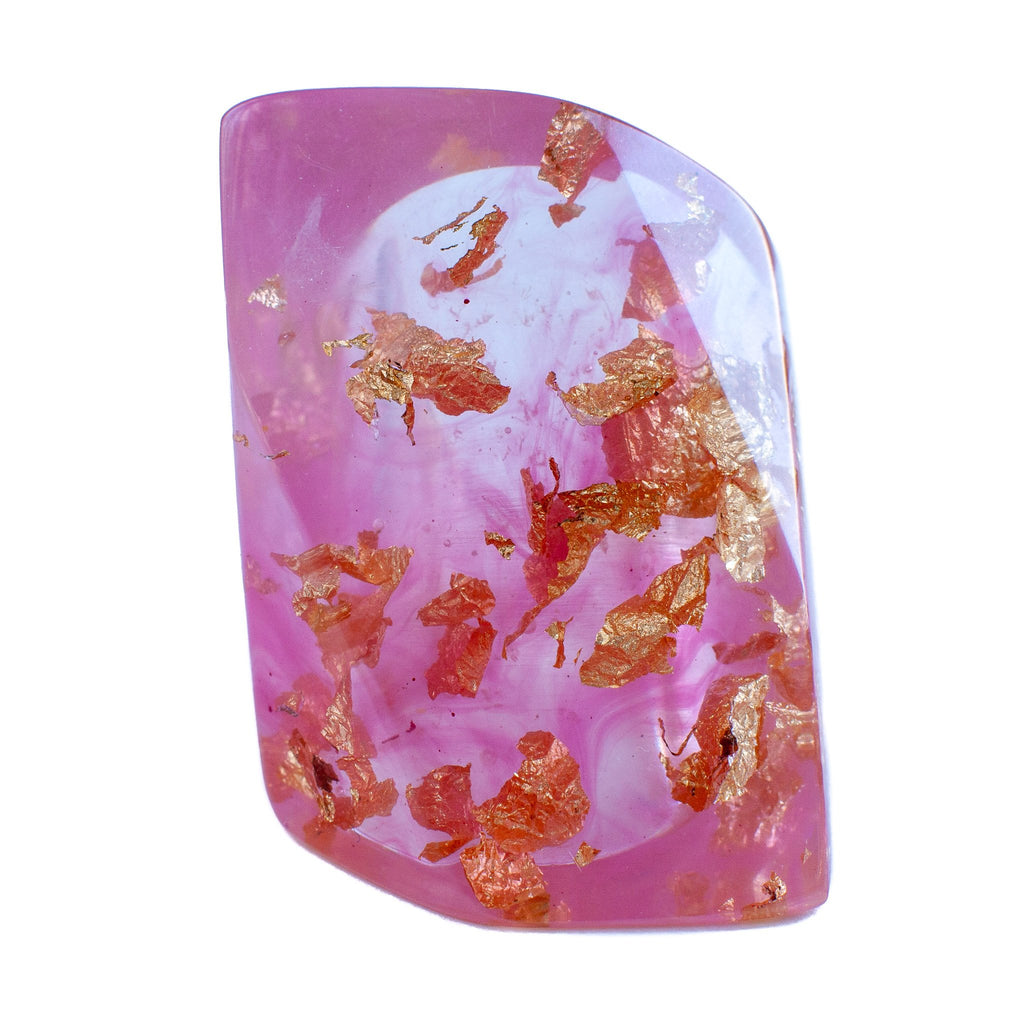 handmade chunky large pink and metallic gold foil flakes resin ring