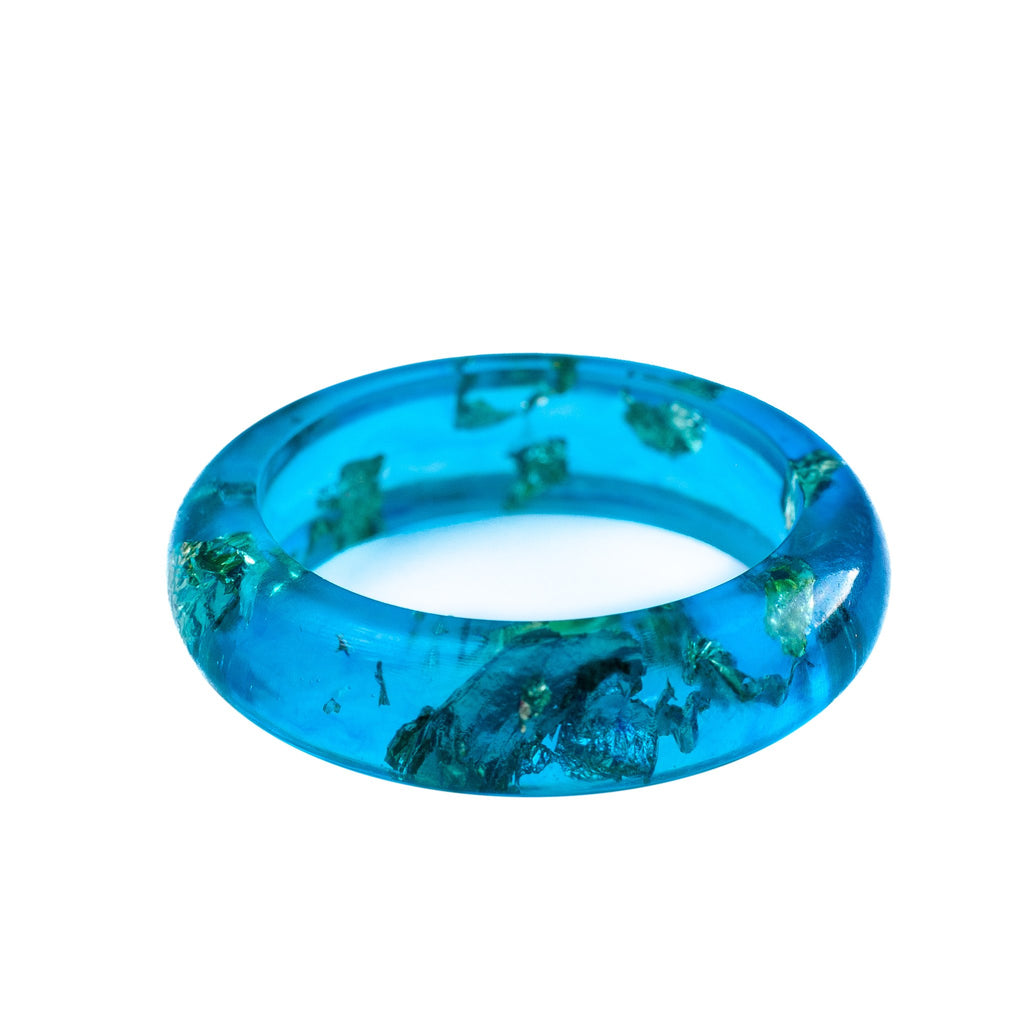 handmade thin aqua and gold foil resin stacking ring