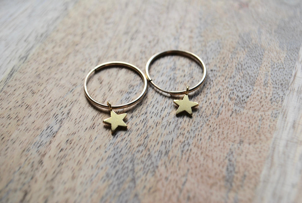 Gold Tiny Star Hoop Earrings - Small - LilyKing