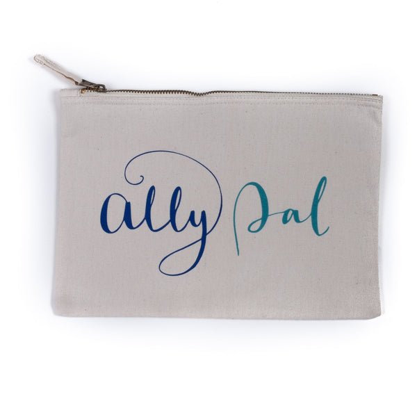 natural coloured baby child nappy pouch bag with the words ally pally printed on it in light and dark blue