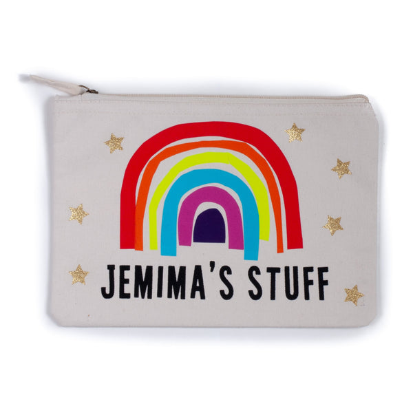 natural coloured nappy pouch bag for baby and children with a colourful rainbow printed on it and the words jeminas stuff printed in black with gold stars decorating it