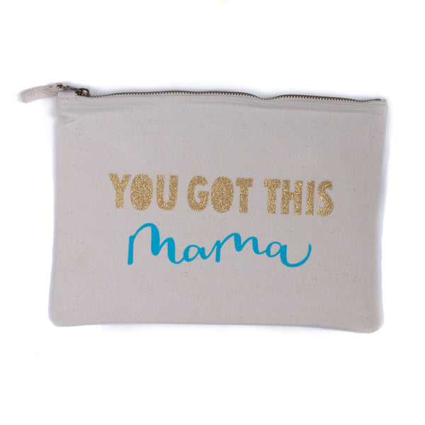 natural coloured baby child nappy pouch bag with the words you got this printed in blue and gold on it