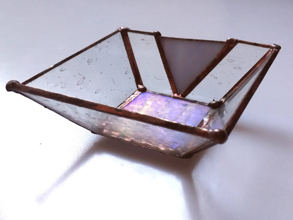 Mini Stained Glass Iridescent Lilac Trinket Dish