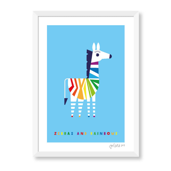 Zebras And Rainbows Print