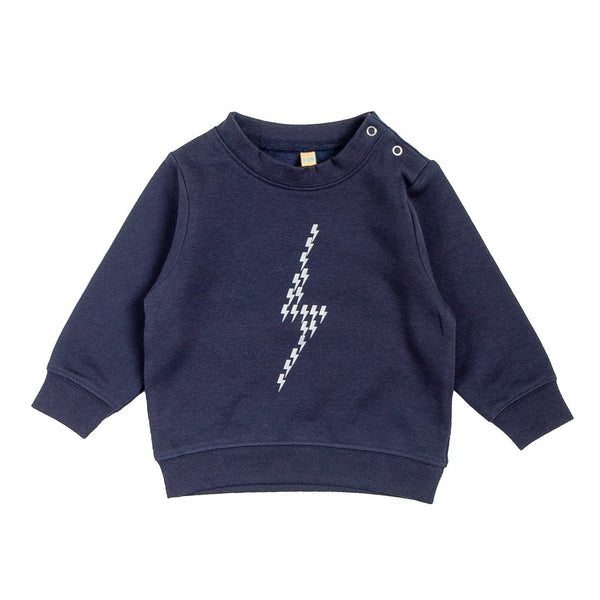 navy blue childrens jumper with a silver lightning bolt printed on the front of it which is made up of lots of little lightnight bolts