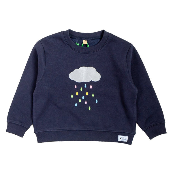 navy blue childrens jumper with a design of a silver cloud and little colourful water drops falling from the cloud
