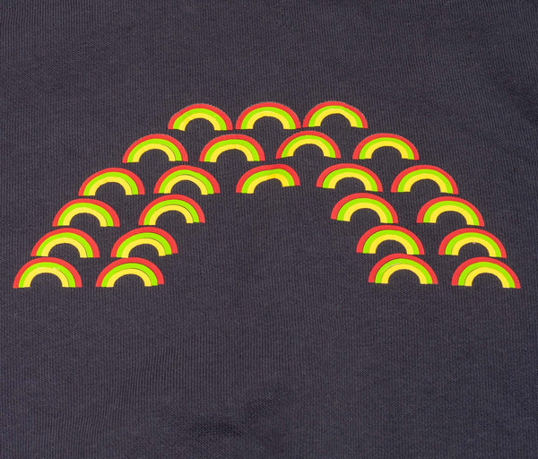 navy blue childrens jumper with big rainbow printed on it which is made up of lots of little rainbows