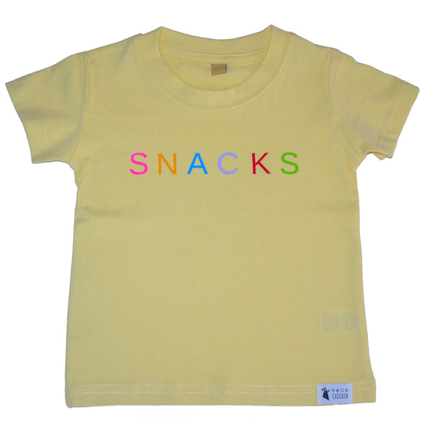 Unisex Snacks Pale Yellow T-Shirt