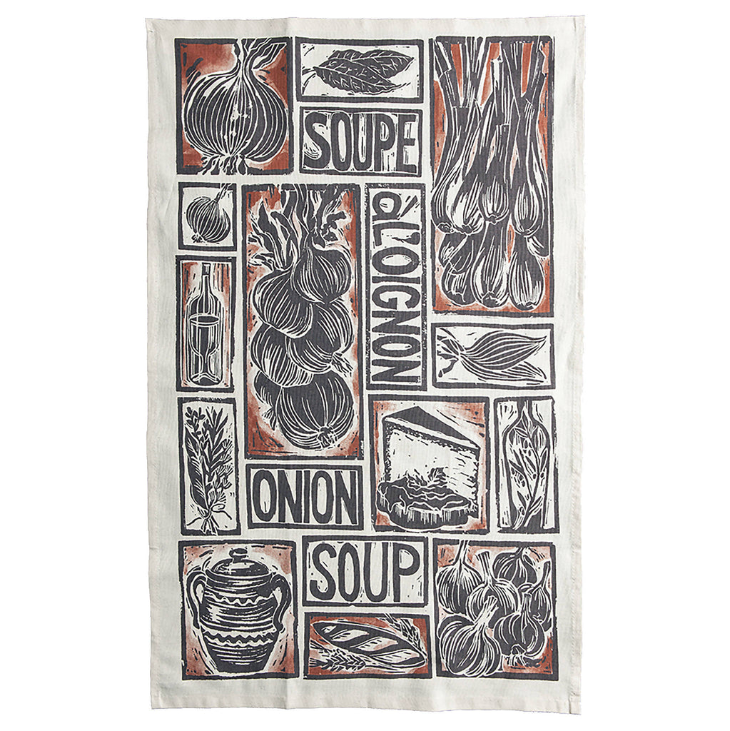 French Onion Soup Illustrated Recipe Organic Cotton Tea Towel