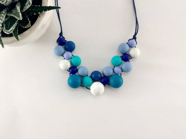 Blue Speckled Silicone Necklace