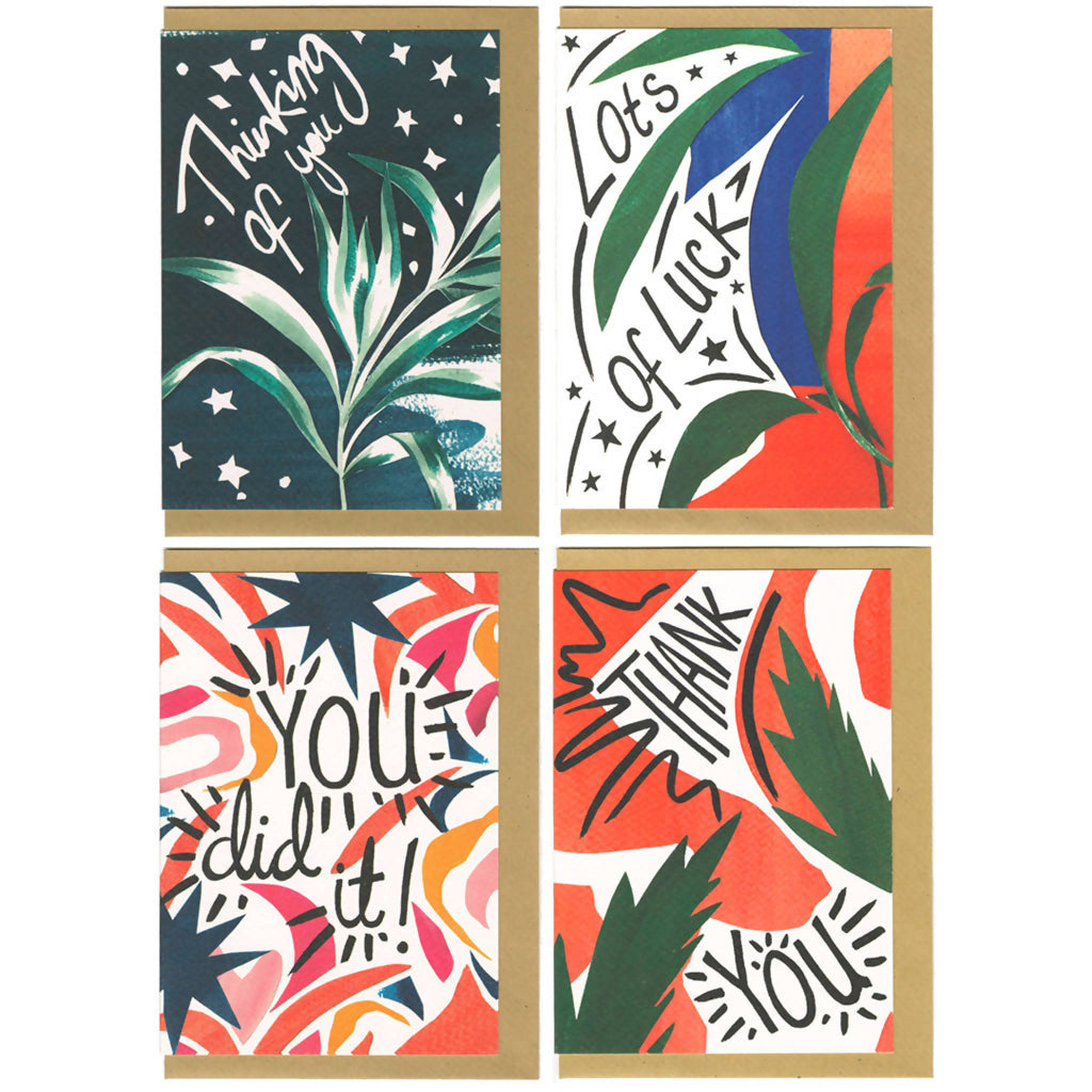 Pack Of Four Message Greeting Cards